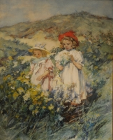 Two girls in a landscape with flowers