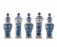 A Five Piece Miniature  Garniture in Dutch Blue and White Delftware
