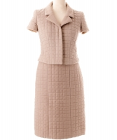 Chanel Beige Quilted Skirt Suit 00T