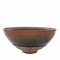 Chinese stoneware tea bowl with 'hare's fur' glaze