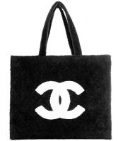 Chanel Black Quilted Terry Cloth Tote