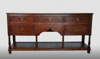 English dresser base with five drawers, a beautiful patina, made of oak, about 1800.