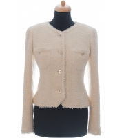 Chanel Ivory Bouclé Tweed Sequins Jacket 97P