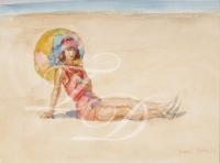 Young lady at the beach of Viareggio - Isaac Israëls (1865-1934)