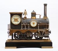 Een zeldzame Franse industriële pendule, Locomotief, Guilmet circa 1890