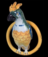 A Polychrome Decorated Delft Figurine of a Parrot