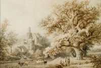 Landscape with trees, a ruin and figures, dated 1845