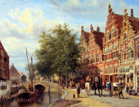 A view of Oudewater with horsemen and towns people on the Korte Havenstraat, the Marktbrug in the distance