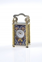 A decorative miniature carriage clock, 8 day,  enamel, Melik Watch Co. Fab. Suisse, circa 1920.