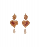 Christian Lacroix Faux Pearl Heart Drop Earrings - Christian Lacroix