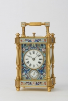 Cloisonné carriage clock, gong striking, alarm and repeat, original case. France ca 1890.