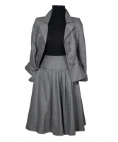 Frans Molenaar Grey Wool Flared Skirt Suit