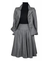 Frans Molenaar Grey Wool Flared Skirt Suit