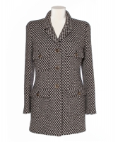 Chanel Brown White Check Wool Tweed Jacket 95A - Chanel