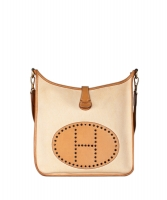 Hermès Evelyne I GM Brown/Natural Barenia/Toile Shoulder Bag