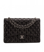 Chanel Classic Maxi Single Flap Schoudertas in Zwart Gewatteerd Lamsleer - Chanel