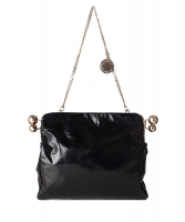 Stella McCartney Black Crinkly Patent Piercing Clutch/Shoulder Bag - Stella MCCartney