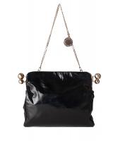 Stella McCartney Black Crinkly Patent Piercing Clutch/Shoulder Bag