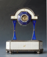 Sterling silver-enamel pendulette, musical movement, ca. 1920, Austria.