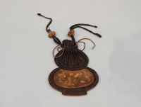 Small Chinese embroidered silk pouch in the shape of a gourd