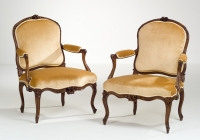 Pair of French Louis XV Armchairs à la Reine