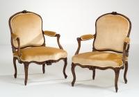Paar Franse Louis XV Fauteuils à la Reine