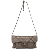Chanel Bronze Metallic Quilted Leather Flap Bag - Chanel