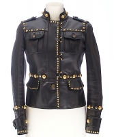 Gucci Black Leather Studded Jacket - Gucci