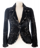 Chanel Black Fantasy Tweed Boucle Blazer 08C