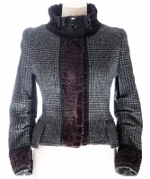 Dolce & Gabbana Grey Wool Blazer with Astrahkan Fur Trim