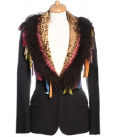 John Galliano Wool Brown Fringe Blazer