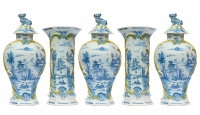 A Five Piece Garniture in Blue and Green Dutch Delft
