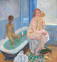 Greet, Rob and Liesje in the bathroom - Jan Sluijters