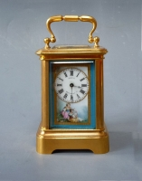 A fine miniature carriage clock with Sèvres porcelain side panels, France ca. 1880