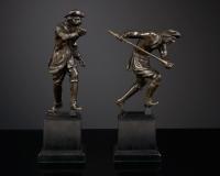 Paar Hollandse Bronzen Beeldjes van Jagers