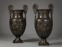Pair of Large Bronze Volute Kraters, Jean-Désiré Ringel d'Illzach (1847-1916)