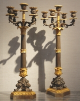 Pair of five-light candelabras