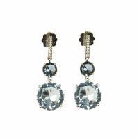 Artur Scholl 18 Carat White Gold Sky Blue Topaz Diamond Earrings