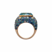 Artur Scholl 18 Carat Rose Gold Blue Topaz Ring