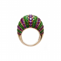 Artur Scholl 18 Carat Pink Gold Amethist & Tsavorite Dress Ring