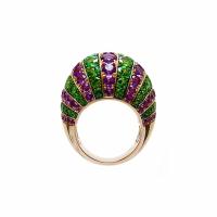 Artur Scholl 18 Carat Pink Gold Amethist & Tsavorite Dress Ring
