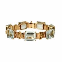 18 Carat Pink Gold and Aquamarine Bracelet