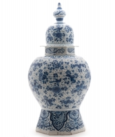 A Blue Dutch Delft Vase with Lit