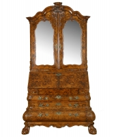 A Fine Burr Walnut Bureau with Top, also known as a Mirrortop Bureau