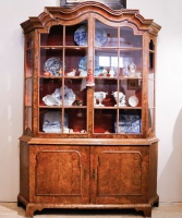 A Louis XV Burr Walnut  Display Cabinet