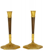 A Pair of Empire Patinated and Gilted Bronze Candlesticks