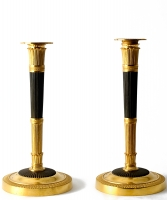 A Pair Gilded and Patinated Bronze Empire Candlesticks