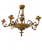 An Austrian Early 19th Century Giltwood Six Branch Chandelier