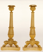 A Pair of Charles X Candlesticks in Ormolu Bronze