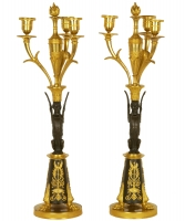 A Pair of Premier Empire Candelabres in Guilded and Patinated Bronze